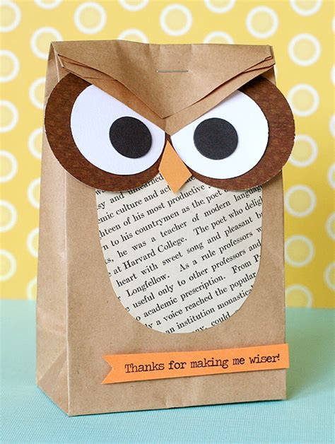 Owl Paper Bag Craft - adorable owl crafts lines across