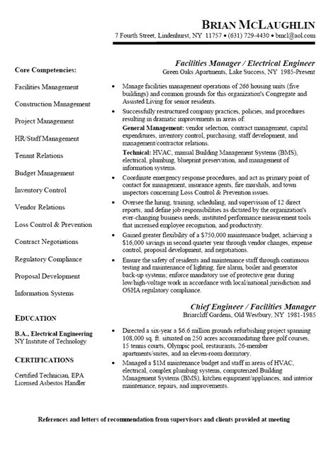 resume sle for facilities manager electrical engineer