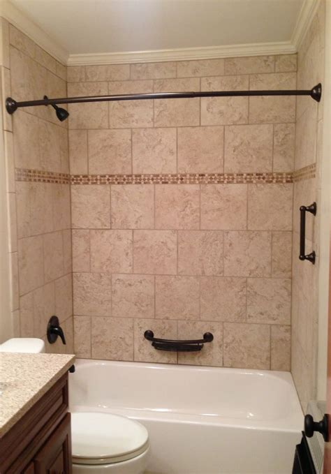 Bathroom Shower Surround Tile Tub Surround Beige Tile Bathtub Surround With Rubbed Bronze Fixtures Our Tile