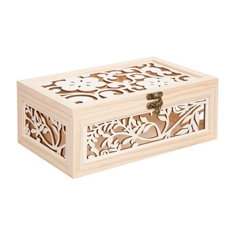 laser cut wood box template laser cut wood box with flower motif 10 5 inches