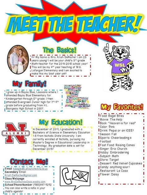 Meet The Teachers Newsletter Editable Superhero Red Yellow And Blue Themed First Day Of Meet The Newsletter Templates