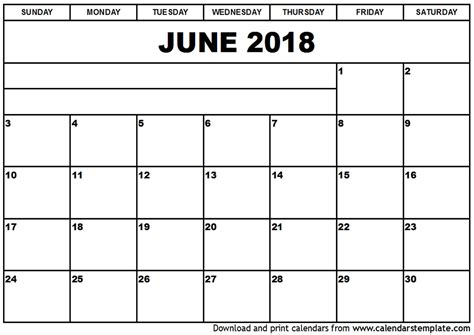 2018 monthly calendar template word june 2018 calendar word calendar printable free