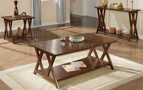 console and coffee table sets brown coffee console end table set w bottom shelves