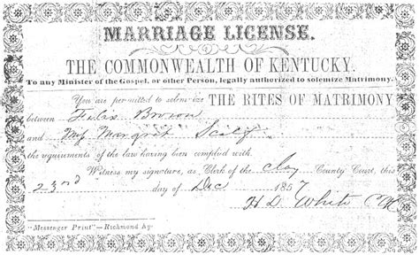 Erbert brown marriage license