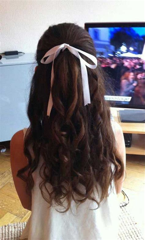 half up half down hairstyles with ribbon 30 long hair with curls long hairstyles 2016 2017