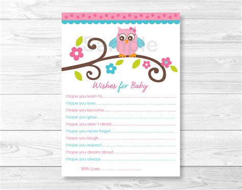 printable advice cards for baby shower pink owl blossom printable baby shower wishes for baby