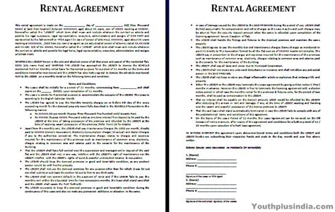 rent agreement template india rental agreement template youth plus india