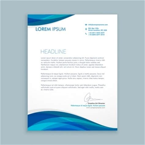 business letterhead with blue waves letterhead vectors photos and psd files free