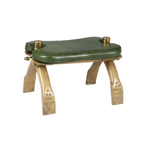 20th century wood etched brass leather camel