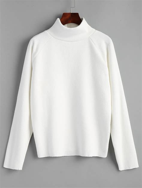 White Sweater 2018 turtleneck raglan sleeve pullover sweater white one