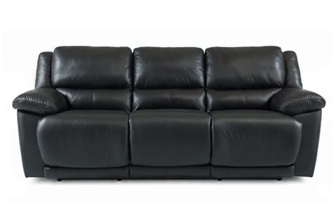 delray black leather reclining sofa