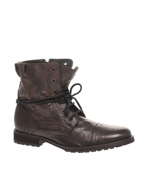 lace up work boots asos asos lace up work boots in brown for lyst