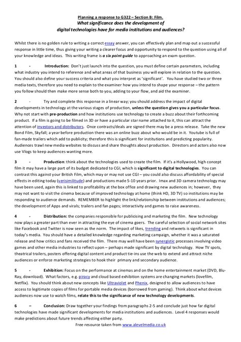 Model Essays by Model Essay Plan For A G322 Media Studies Response