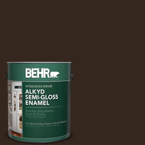 behr 1 gal sc 105 padre brown semi gloss enamel alkyd interior exterior paint 393001 the