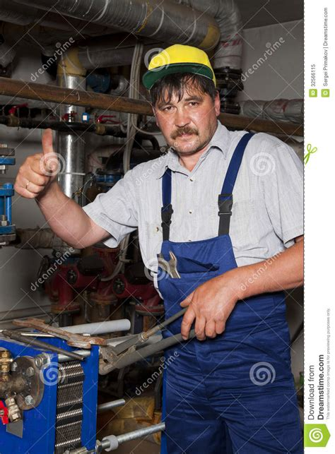 Plumbing Of Thumb by Plumber Giving Thumb Up Royalty Free Stock Photo Image