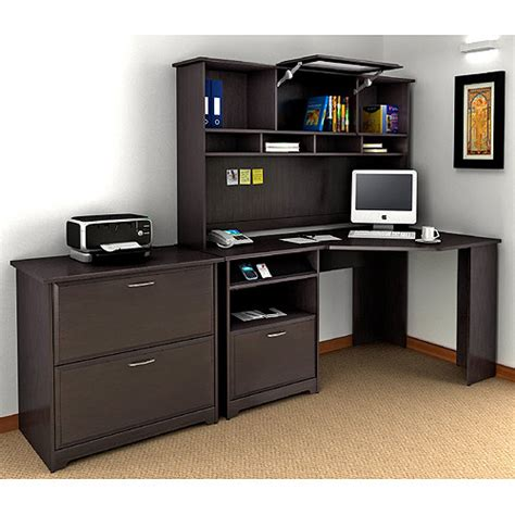 Espresso Computer Desk With Hutch Bush Cabot 60 Quot Corner Computer Desk Hutch And Lateral File Set Espresso Oak Desks Papa