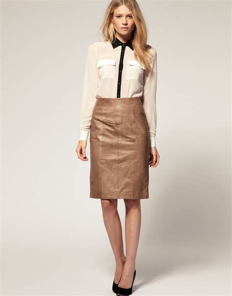 oasis leather pencil skirt in brown lyst