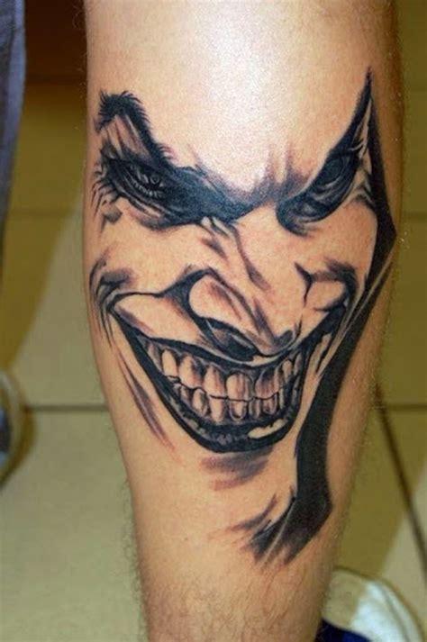 joker back tattoo realistic colored evil joker on back leg