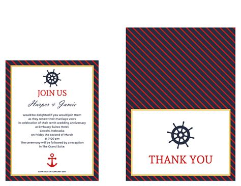 Thank You Note Envelope Format Free Vow Renewal Invitation Suite Classic Nautical Theme