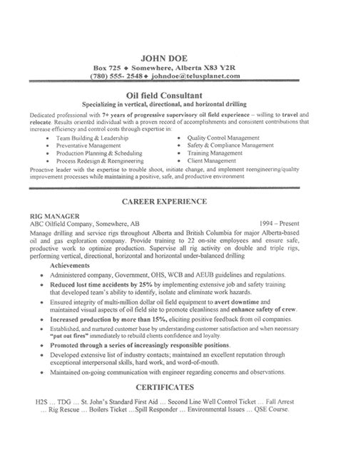 Oil Field Job Resume Sample