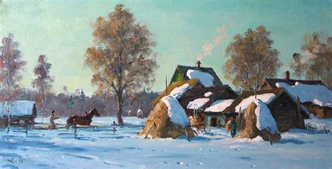 small villages in usa small village in winter painting by alexander alexandrovsky