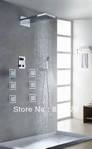 shower wall jets wall mounted brass thermostatic bath shower faucet set led