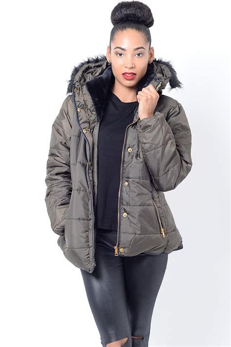 Faux Fur Padded Jacket stylish faux fur padded jacket padded jackets