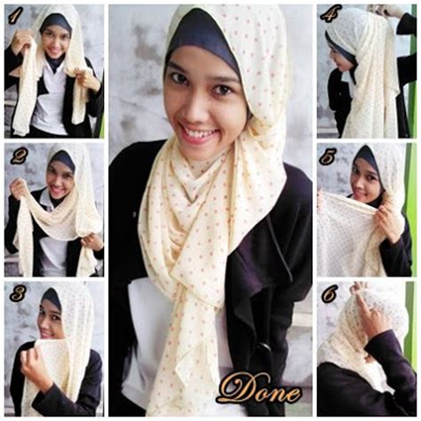 how to drape a hijab tutorial terkait cara memakai shawl chic polka dot turban