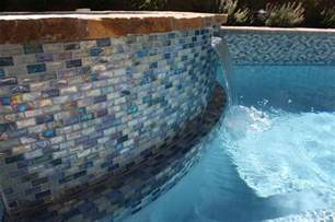 Bar Stool Cushions Round Iridescent Blue 1 X 2 Glass Tile Surrounds The Pool And