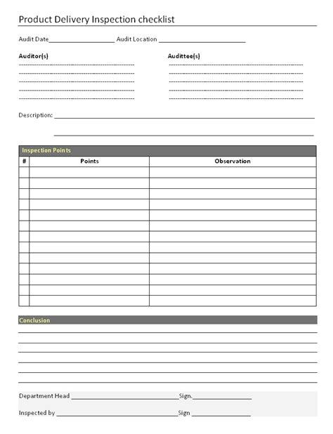 delivery checklist template product delivery inspection checklist format