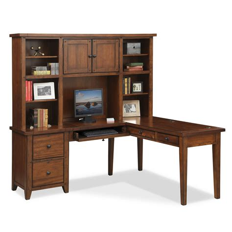 Morgan L Shaped Desk With Hutch Brown Value City Furniture Furniture L Shaped Desk