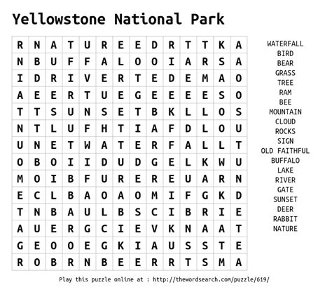 National Search Yellowstone National Park Word Search