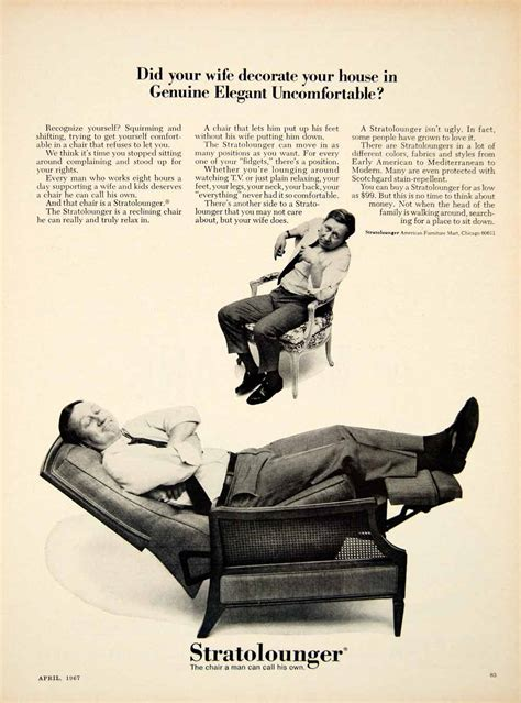 American Furniture Ad by 1967 Ad Stratolounger Furniture Chair Recliner
