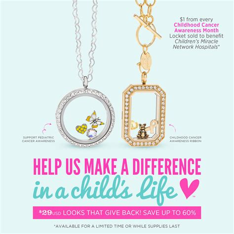 Origami Owl October Specials - 5 limited time offer looks give back in support of
