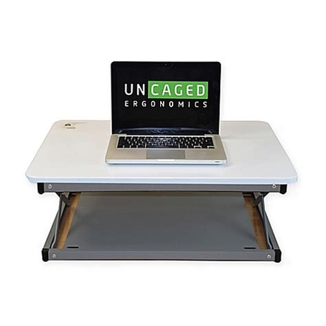 Laptop Mini Desk Uncaged Ergonomics Changedesk Mini Standing Desk Conversion In White Bed Bath Beyond