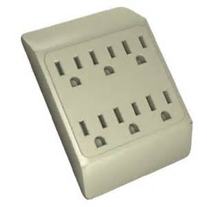 6 way plug wall outlet power strip socket grounded beige
