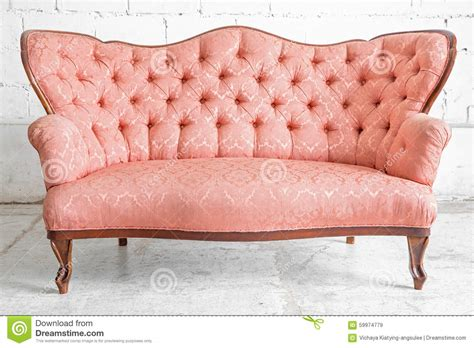vintage pink sofa pink sofa stock photo image 59974779