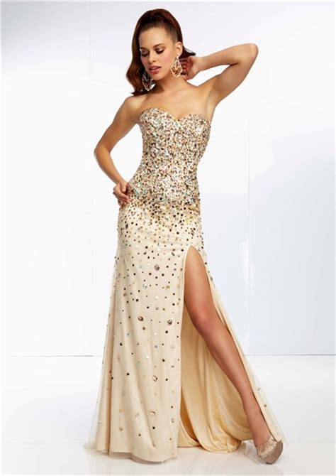 gold beaded prom dress sheath sweetheart chagne silk tulle gold beaded