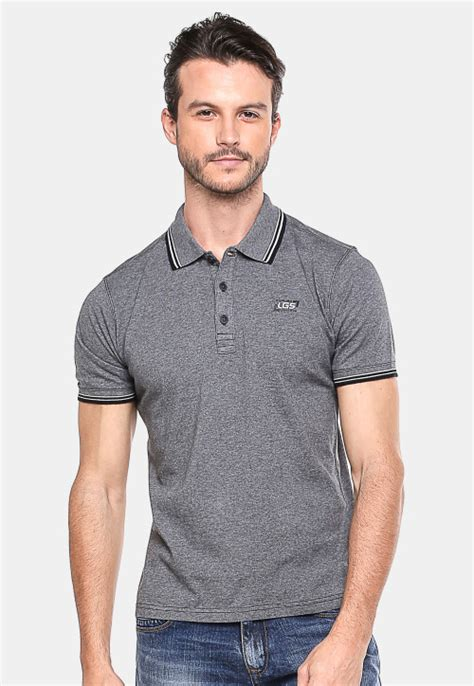 Dsvn Generation Kaos Pria Hitam slim fit kaos polo abu gelap garis hitam putih