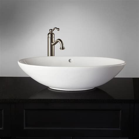 Phelan Porcelain Vessel Sink White Bathroom