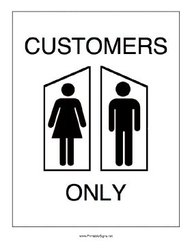 bathroom for customers only sign printable restrooms for customers only sign