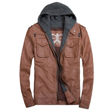 Jaket Hoodie Tgh Black Diskon discount thooo brand mens pu leather jackets hoodie jacket