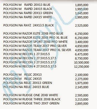 Harga Merk Sepeda Polygon toko sepeda majuroyal daftar harga sepeda polygon