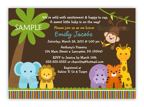 jungle safari animals baby shower invitation you print