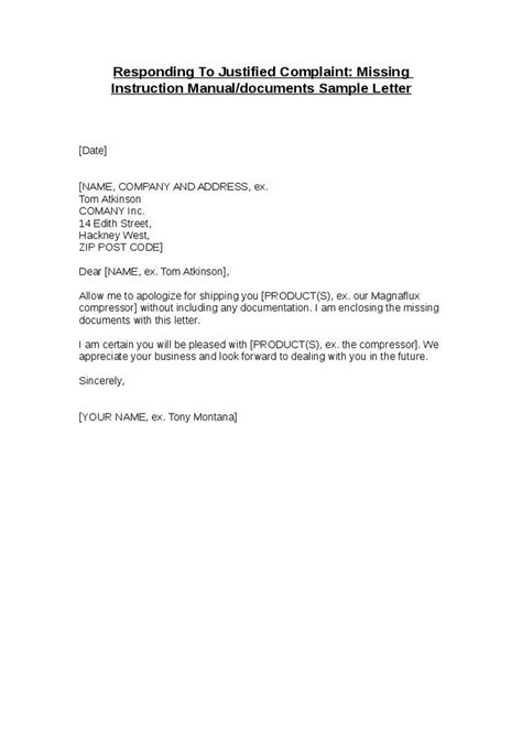 Letter Report Lost Documents responding to justified complaint missing