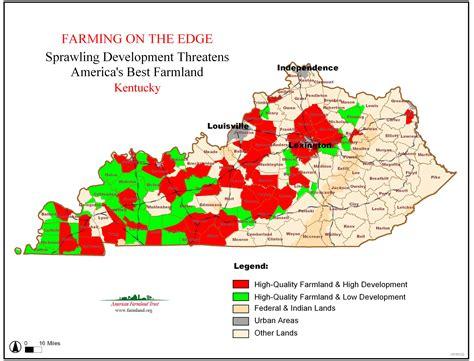 kentucky land map farming on the edge american farmland trust