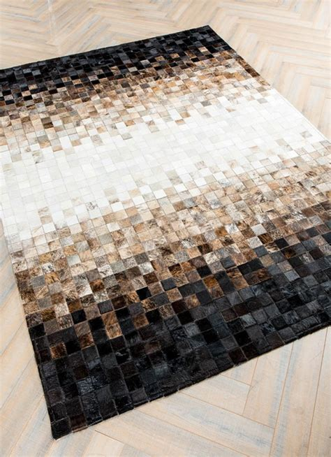 Cowhide Patchwork Rug - tessellation by mosaic rugs luxury handcrafted black