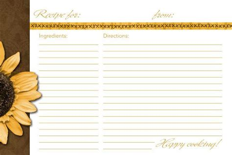template for 4x6 recipe cards 4x6 recipe card template sunflower recipe card