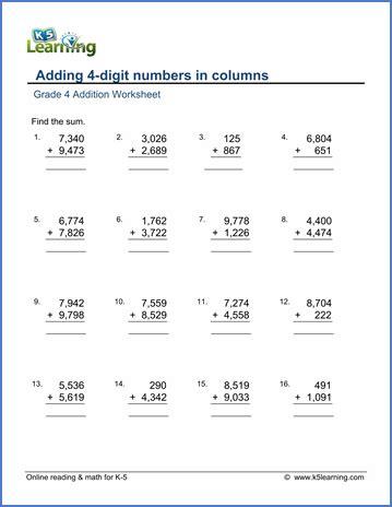 4 digit numbers math worksheets 4 best free printable