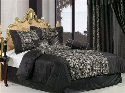 Discount King Bedding Sets Discount Comforters 7 Pieces Luxury Black Satin With Jacquard Swirl Comforter Set Bed In A